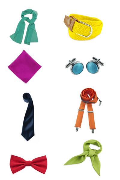 Farbige Accessoires, Krawatten, Halstücher, Fliegen, Hosenträger, Gürtel, Manschettenknöpfe
