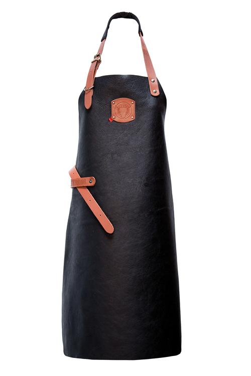 Leder Latzschürze in der Farbe Schwarz mit Kontrastfarbe