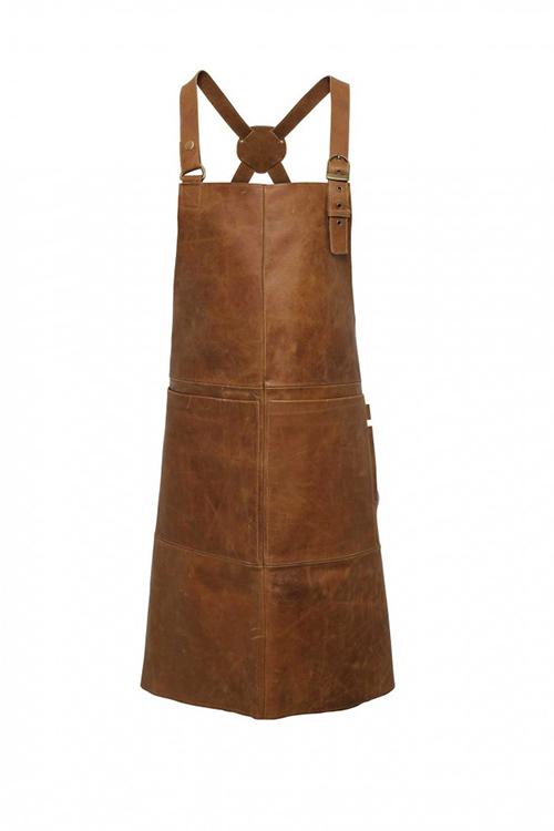 Lederlatzschürze in braun mit Taschen
