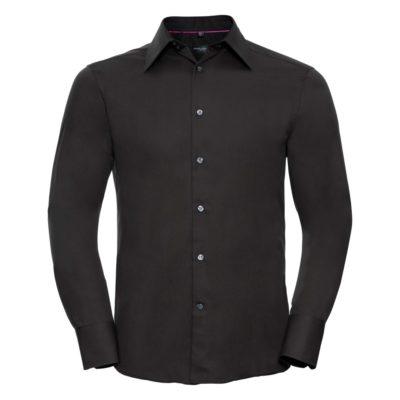 schwarzes Langarmhemd aus Tencel