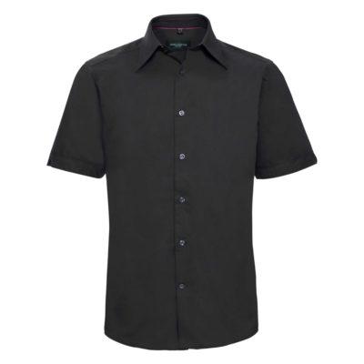 schwarzes Kurzarmhemd aus Tencel