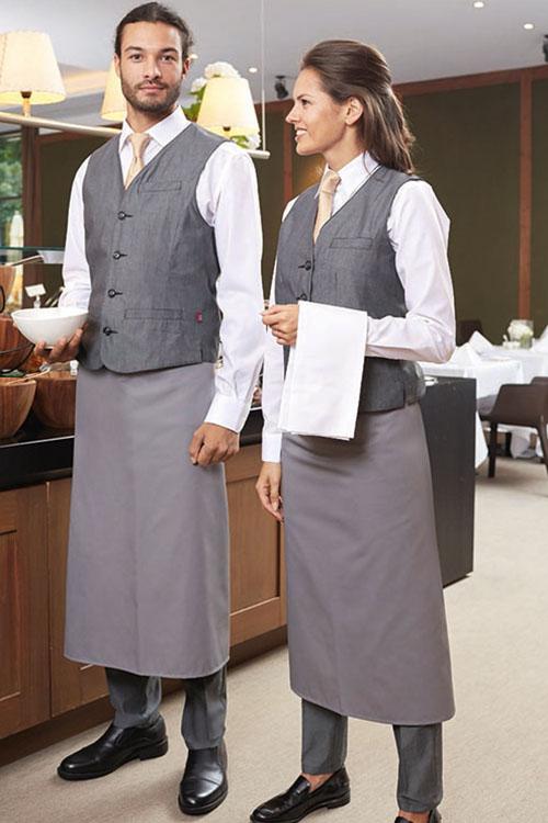 CG Workwear Schürze Roma Classic mit Service Westen in Melange Optik