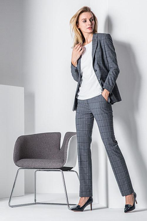 Greiff Premium Langblazer und Damenhose Glencheck Grau/Blau