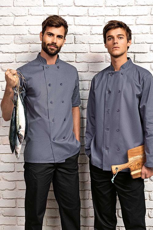 Premier Workwear Kochjacken mit Stehkragen und doppelreihiger Knopfleiste