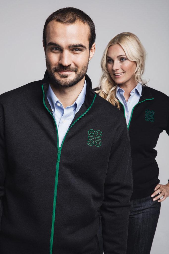 Clipper - Damen Cardigan / Herren Cardigan mit kontrastfarbigem Reißverschluss in grün