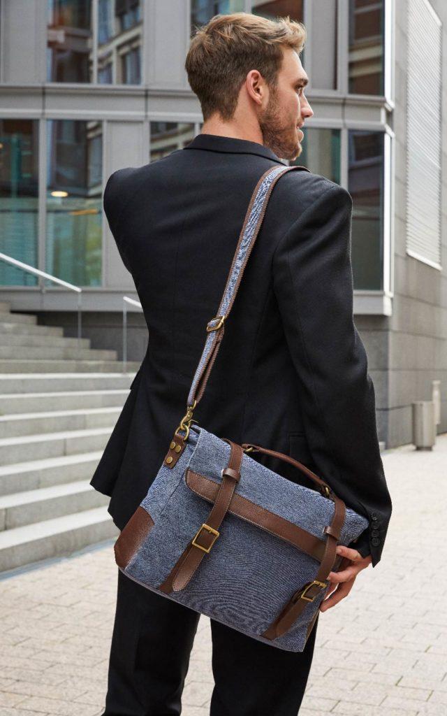 Berufsbekleidung Verkehrsbetriebe bags2go Messenger Bag Cambridge - Canvas Business Tasche im Vintage Look mit braunen Kunstlederapplikationen