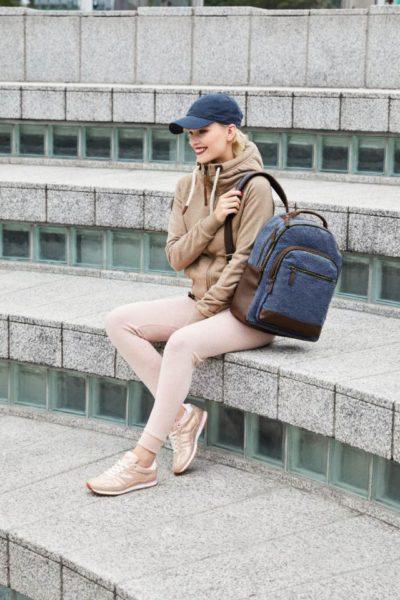 """bags2go Rucksack Edinburgh- Canvas Rucksack """"Daypack"""" im Vintage Look mit braunen Kunstlederapplikationen"""