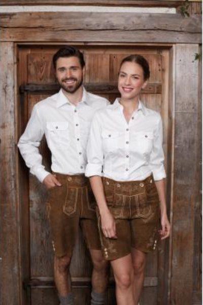 Damenbluse / Herrenhemd im Trachtenlook aus Baumwolltwill in weiß