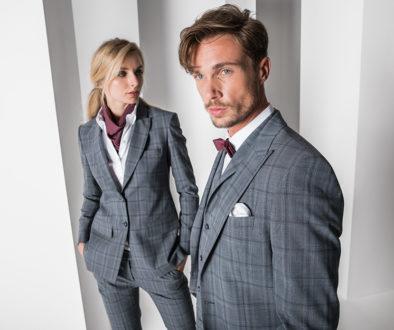 Greiff Premium Glencheck Anzug und Hosenanzug in grau/blau