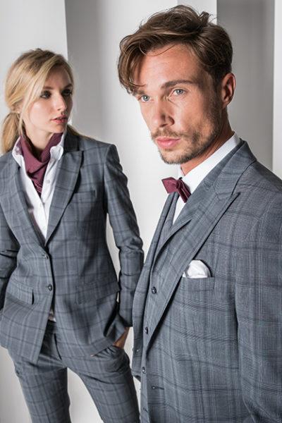 Glencheck Anzug und Hosenanzug in grau/blau