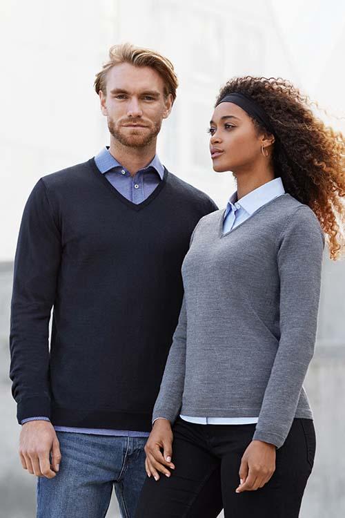 Berufsbekleidung Büro Strickpullover V-Ausschnitt, Hemden und Blusen