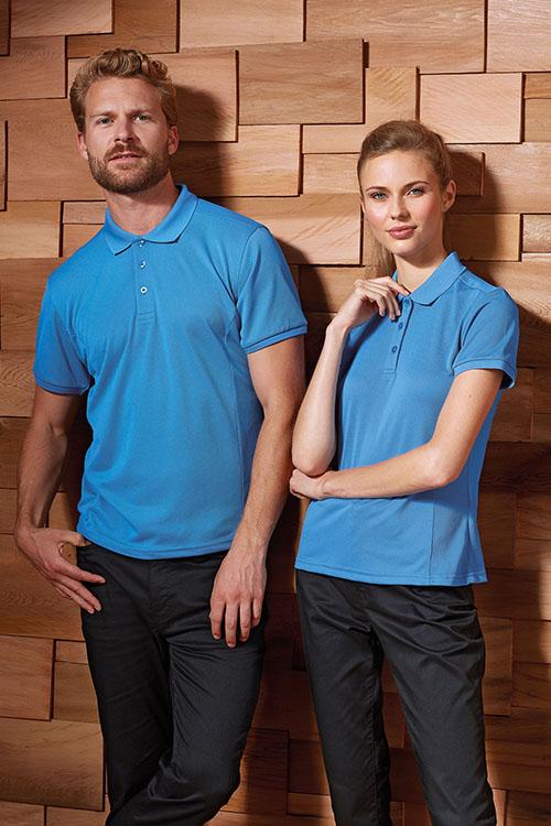 Bekleidung Housekeeping hellblaue Funktionspolos für Damen und Herren