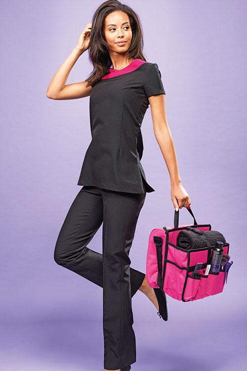 Berufsbekleidung Beauty & Wellness Kasack schwarz magenta