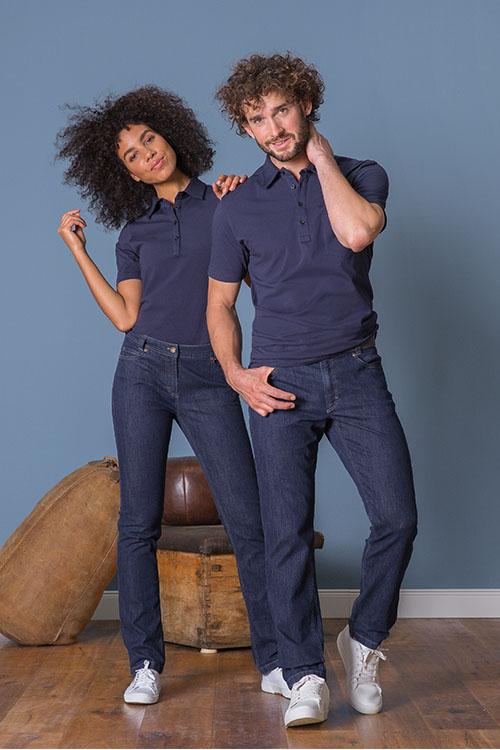 Messebekleidung blaue elegante Poloshirts, Jeans für Damen und Herren