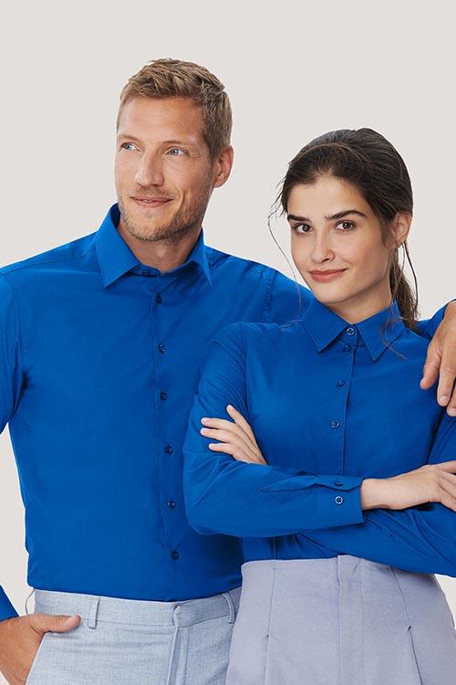 Hemd und Bluse mit Stickerei Royalblau Langarm