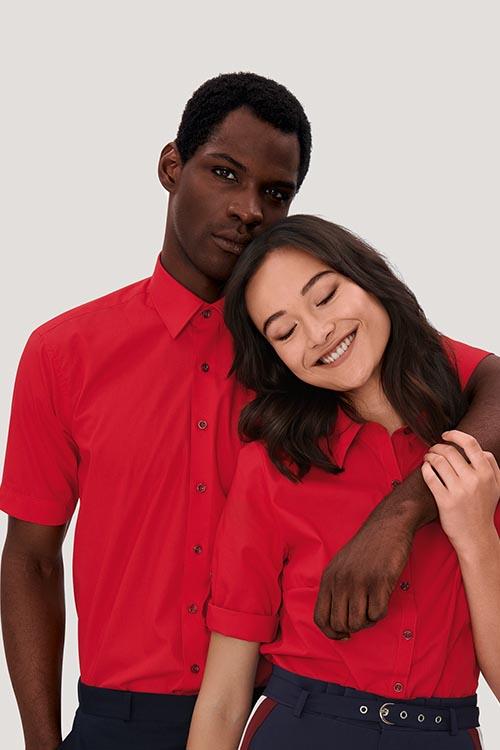 Hemd und Bluse mit Stickerei Kurzarm Rot