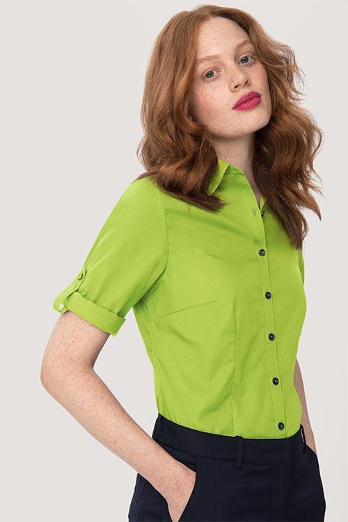 Hemden und Blusen besticken lassen Damenbluse Krempelärmel Kiwi