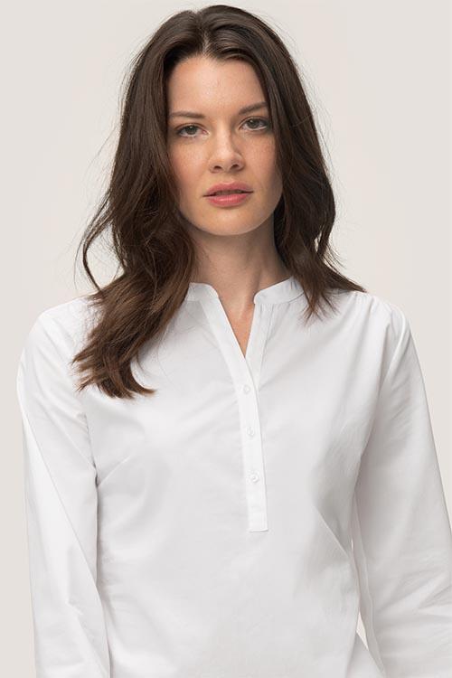 Hemden und Blusen besticken lassen Stehkragen Tunika Damen Weiß