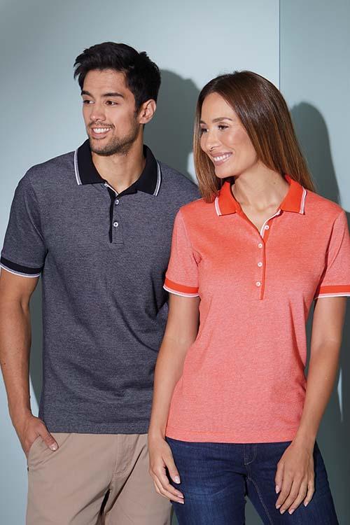 Berufsbekleidung Service Melange Poloshirts für Damen und Herren mit Kontrastapplikationen
