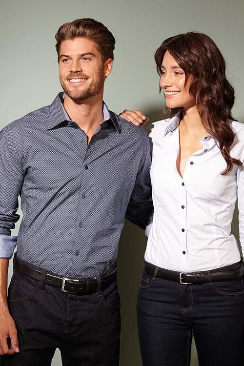 Hemd und Bluse mit Stickerei Micro-Dessin Langarm Hemden und Blusen