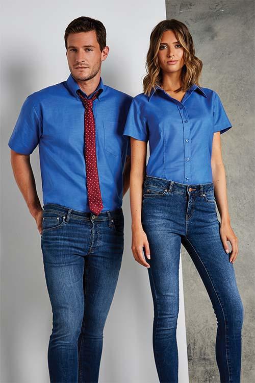 Hemden und Blusen Oxford Kurzarm Mittelblau