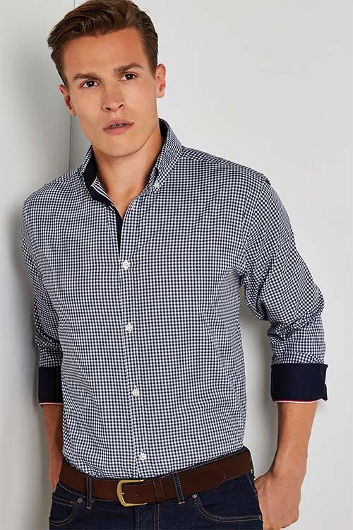 Hemd und Bluse mit Stickerei kariertes Herrenhemd mit Kontrast