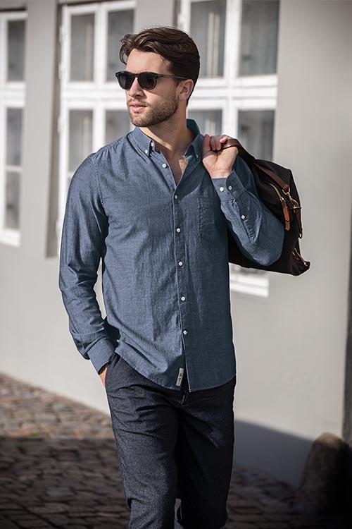 Hemden und Blusen Chambray Herren Hemd