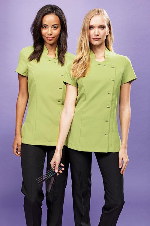 Berufsbekleidung Service hellgrüne Asia-Kasacks, schwarze Hosen