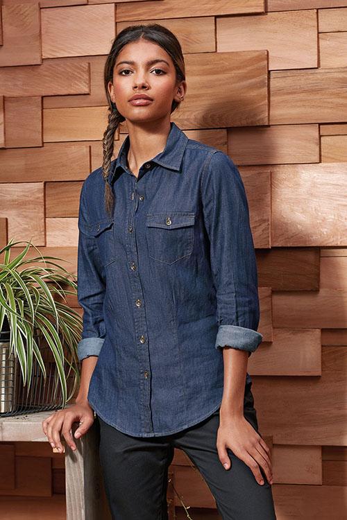 Hemd und Bluse mit Stickerei Jeansbluse mit Taschen