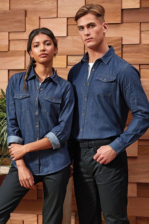 Hemden und Blusen Jeanshemd und Jeansbluse mit Taschen