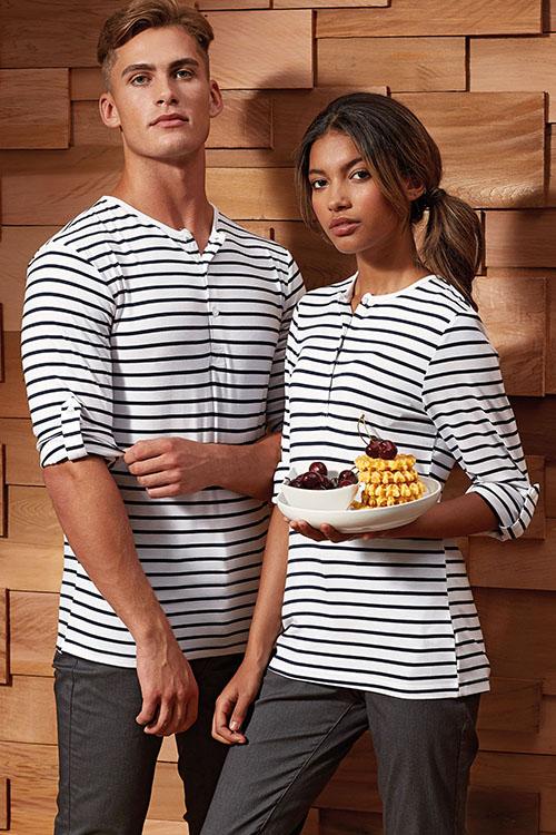 Berufsbekleidung Service Ringelshirts mit Krempelärmel, schwarze Hosen
