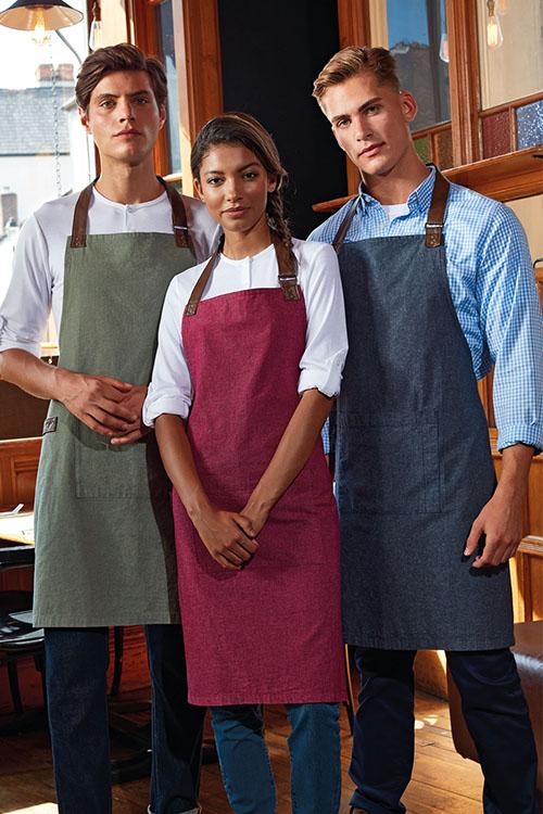 Berufsbekleidung Gastronomie bunte Canvas-Baumwoll-Schürzen, weiße Krempelärmel-Shirts