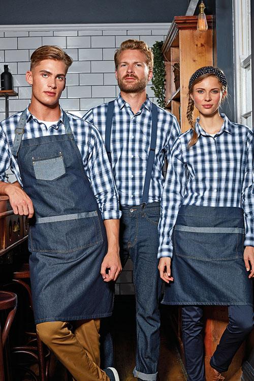 Berufsbekleidung Service blau-weiß-karierte Hemden und Blusen, Denim-Schürzen, Chino-Hosen, Jeans, Hosenträger