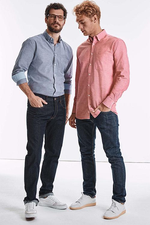 Hemden und Blusen besticken lassen Washed Oxford Hemd