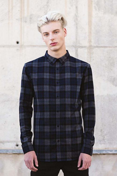 Hemden und Blusen gebürsteter Twill schwarz-anthrazit kariert