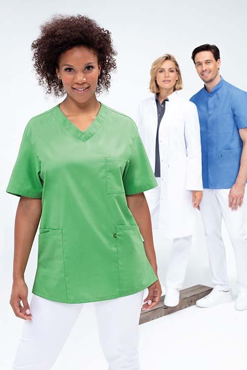 Berufsbekleidung Labor farbige Kasacks und weißer Kittel