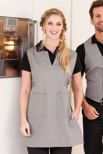 Berufsbekleidung Kantine Überwurfschürze mit 2 aufgesetzten Taschen EX-12120