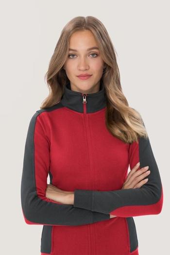 Arbeitskleidung Kontrast Sweatjacke HAK277/477 in rot anthrazit