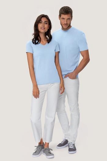 Berufsbekleidung Medizin extrem strapazierfähiges, kochfestes, chlorechtes T-Shirt in eisblau HAK182/282