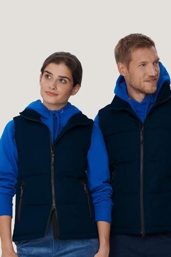 Arbeitskleidung Bodywamer / Weste HAK242/842 in tinte und Kapuzensweatshirts HAk601 in royalblau
