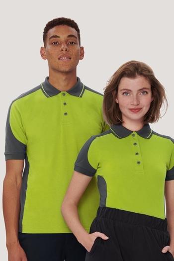 Berufsbekleidung Fitnessstudio besonders strapazierfähiges Kontrast Poloshirt in kiwi/anthrazit HAK239/839