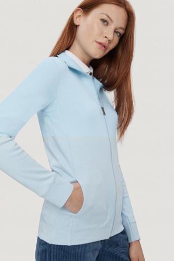 Berufsbekleidung Medizin bequeme Interlockjacke für Damen in eisblau HAK227