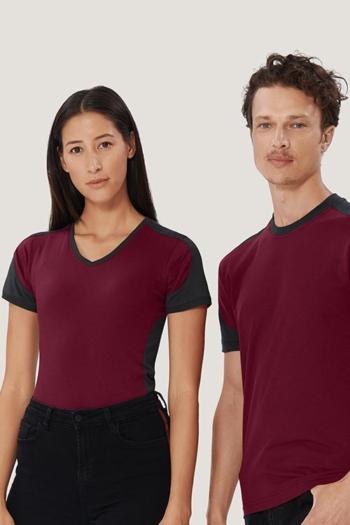 Berufsbekleidung Housekeeping strapazierfähige Kontrast T-Shirts in weinrot/anthrazit HAK190/290