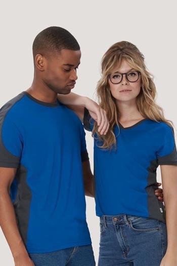 Arbeitskleidung besonders strapazierfähiges T-Shirt mit kontrastfarbigen Einsätzen HAK190/290 in royalblau anthrazit