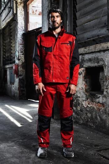Arbeitskleidung Werkstatt Softshell Jacke JN844 und Arbeitshose JN832 in rot schwarz