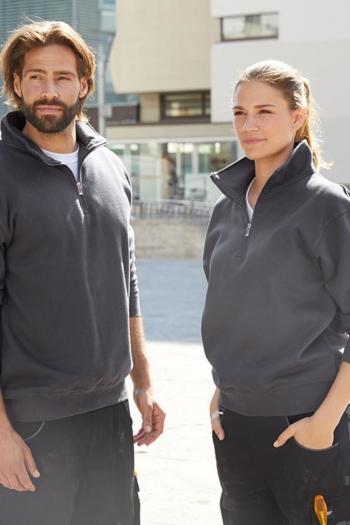 Arbeitskleidung Sweatshirt mit Stehkragen und Reißverschluß JN831 in carbon