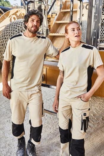 Arbeitskleidung Baustelle T-shirts JN827, funktionelle 3/4 Arbeitshose JN834 und lange Arbeitshose JN832 in beige schwarz