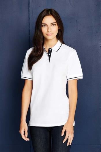 Berufsbekleidung Zimmermädchen weißes Poloshirt mit schwarzen Kontrasten KK706
