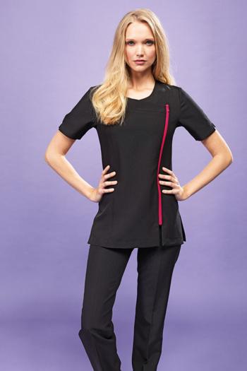 Berufsbekleidung Housekeeping schwarzer Kasack mit farbigem Reißverschluß PW686