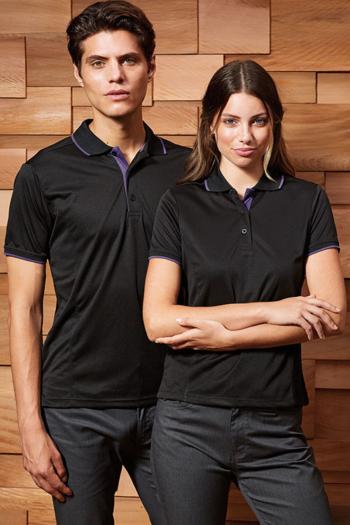 Berufsbekleidung Bestattungsinstitut Performance Kontrast Poloshirts in schwarz/lila PW618/619